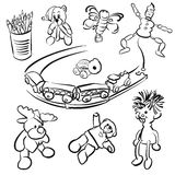 Doodles of Toddlers playing Toys Royalty Free Stock Photo