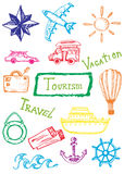 Doodles tourism set Royalty Free Stock Image