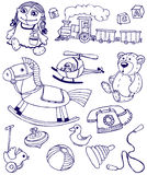 Doodles toys. Collection of doodles toys, vector Royalty Free Stock Images