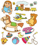 Doodles toys. Collection of doodles toys Stock Image