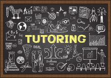 Doodles about tutoring on chalkboard. Stock Image