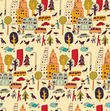 Doodles urban city buildings and trees street color seamless pattern. Stock Images