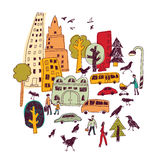 Doodles urban city life birds street isolate color objects white. Color vector illustration. EPS8 Stock Images