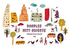 Doodles urban city life isolate objects color set on white. Royalty Free Stock Image
