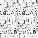 Doodles urban city life street objects black seamless pattern. Royalty Free Stock Photo