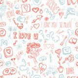 Doodles for Valentine's day. Cute doodles seamless background for Valentine's day Royalty Free Stock Images