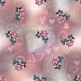 Doodles Valentines day pattern on blur background Stock Image