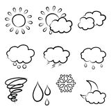 Doodles weather icon set. Hand drawn Stock Photography