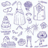 Doodles Wedding ilustração royalty free