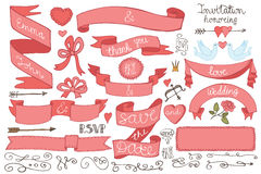 Doodles Wedding ribbons, swirl element,decor set Royalty Free Stock Images