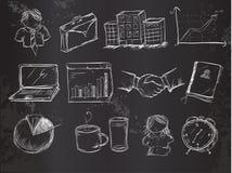 Doodles wektoru biurowa paczka na Blackboard Zdjęcia Stock
