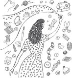 Doodles woman drawing creative craft objects Stock Photos