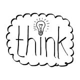 Doodles of the word think with bulb Royalty Free Stock Image