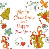 Doodles Xmas card design Royalty Free Stock Photo