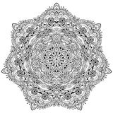 DoodleSnake-13. Ornament black white card with mandala. Geometric circle element made in vector Royalty Free Stock Image