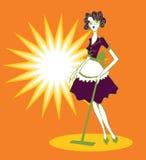Doodley de señora Cleaning Floor Retro Fotos de archivo libres de regalías