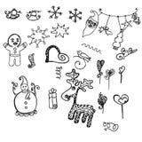 Doodling объекты элементов Новых Годов декоративные разносторонние бесплатная иллюстрация