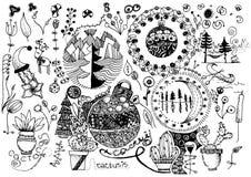 Doodling от картин рук и шариков рождества Стоковое фото RF