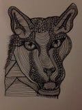 Doodling тигр Стоковое Изображение