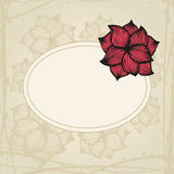 Doodling greeting card with hand drawn flowers in Royalty Free Stock Photo