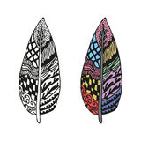 Doodling hand drawn amazing feathers with patterns. Contour and colorful, vector illustration Stock Photos