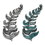 Doodling hand drawn amazing feathers with patterns. Contour and colorful, vector illustration Royalty Free Stock Photography
