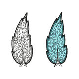 Doodling hand drawn amazing feathers with patterns. Contour and colorful, vector illustration Royalty Free Stock Photos
