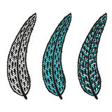 Doodling hand drawn amazing feathers with patterns. Contour and colorful, vector illustration Stock Photography