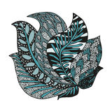 Doodling hand drawn amazing feathers in tattoo Stock Images