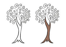 Doodling hand drawn amazing tree with curls Stock Images