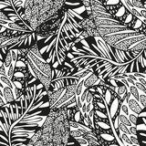 Doodling hand drawn seamless background with. Feathers and patterns, vector illustration Royalty Free Stock Photography