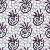 Doodling seamless pattern with seashells. Zentangle coloring page. Creative background for textile or coloring book in pastel colo Stock Photos