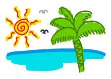Doodling (wschód słońca plaża) Zdjęcie Royalty Free