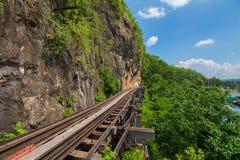 Doodsspoorweg langs de Rivier Kwai in Kanchanaburi, Thailand Royalty-vrije Stock Fotografie
