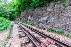 Doodsspoorweg, tijdens de Wereldoorlog II in Kanchanaburi Thailand Stock Afbeelding