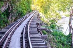 Doodsspoorweg, tijdens Wereldoorlog II, Kanchanaburi Thailand wordt gebouwd dat Royalty-vrije Stock Afbeelding