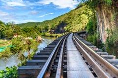 Doodsspoorweg, tijdens Wereldoorlog II, Kanchanaburi Thailand wordt gebouwd dat Royalty-vrije Stock Foto