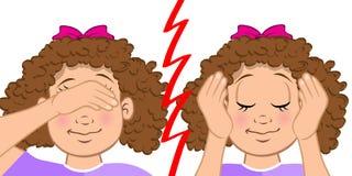 Doof en blind meisje stock illustratie