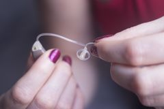 Doof gehoorapparaat royalty-vrije stock afbeelding