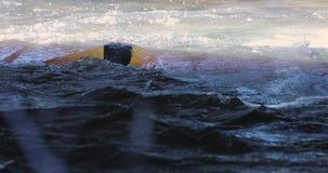 Dooi en rivierbeweging in de lente stock footage