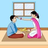 Dooj de Bhai, hermano y festival la India de la hermana stock de ilustración