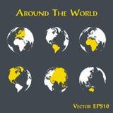 Dookoła świata kontur światowa mapa i kontynent ilustracja wektor