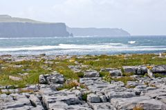 Doolin beach, county Clare, Ireland. Doolin beach with the cliffs of Moher in the background, waves crashing Royalty Free Stock Photos