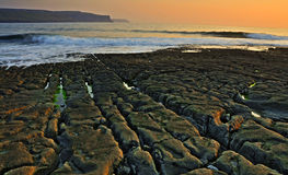 Doolin beach, county clare, ireland. Photo breathtaking sunset over doolin beach, county clare, ireland, hdr Stock Image