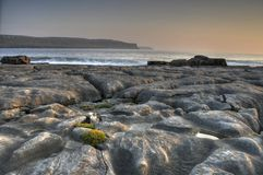 Doolin beach, county clare, ireland. Photo breathtaking sunset over doolin beach, county clare, ireland, hdr stock photo