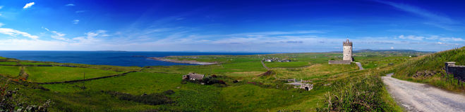 Doolin Co. Clare Ireland. Panorama od Doolin Co. Clare Ireland on a summers day royalty free stock photos