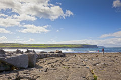 Doolin's Bay, The Burren. Looking at View. Cliffs of Doolin's Bay, The Burren, County Clare, Ireland Royalty Free Stock Photography