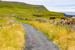 Doolin village with houses and farm fields. Clare, Ireland stock photos