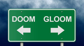 Doom And Gloom Road Sign Stock Photos