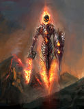 Doom. Burning skeleton knight over volcano Stock Photography